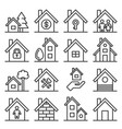 house icons set on white background line style vector image vector image