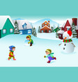 kids playing in a winter wonderland vector image