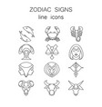 linear symbols set 12 zodiac signs vector image