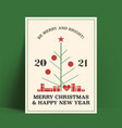minimalistic retro styled christmas and new 2021 vector image