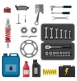 Moto parts with tools vector image vector image
