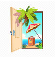 opened spring door isolated on transparent vector image vector image