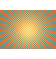 orange yelow and blue rays and dots pop art vector image vector image