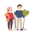 pair of cute happy smiling man and woman farmers vector image vector image