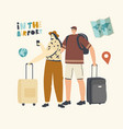 people travel woman and businessman in airport vector image vector image