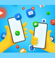 people with smartphones communication concept vector image