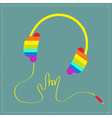 Rainbow headphones with cord Rock and roll vector image vector image