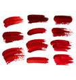 red oil brush strokes similar to blood for design vector image