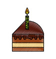 scribble cute cake slice cartoon vector image