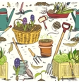 Seamless gardening tools pattern background vector image vector image