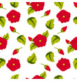 seamless pattern of leaves flowers and buds of vector image