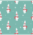 seamless pattern with cute bunny in scarf can be vector image vector image