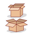 set carton box opened on white background vector image
