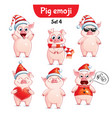 set of christmas pig characters set 4 vector image vector image