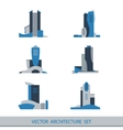 Set of six silhouettes of skyscrapers vector image vector image