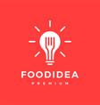 smart foot bulb fork idea logo icon vector image vector image