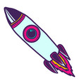 space rocket icon hand drawn style vector image