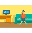 Woman in virtual reality glasses VR box at home vector image vector image