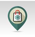 Shopping bag flat pin map icon vector image