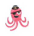 cute cartoon pink octopus character pirate with an vector image