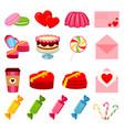 17 colorful cartoon romantic food elements vector image vector image