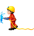 A fireman holding a water hose vector image vector image