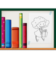A shelf with books and a paper with an image of a vector image vector image