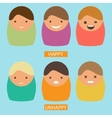 Abstract cartoon icons set of characters vector image