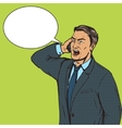 Angry businessman speaks by phone pop art vector image vector image