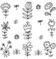 Art of spring flower leaf doodles