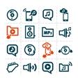 audio line icons vector image