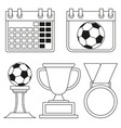 black and white flat soccer elements set vector image