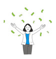business woman open arm with money falling vector image