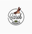 carob logo round linear logo superfood vector image vector image