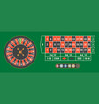 casino roulette wheel with chips on green table vector image