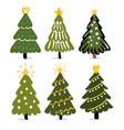 christmas trees hand drawing winter fir vector image