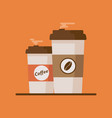 coffee cup with coffee beans on orange background vector image vector image