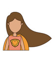 colorful caricature faceless half body super woman vector image
