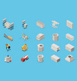 concrete cement production isometric icon set vector image vector image