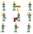 construction worker doing work vector image vector image