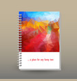 cover of diary blue sky red landscape polygonal vector image vector image