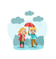 cute boy and girl standing with umbrella happy vector image