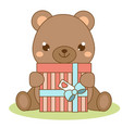 cute teddy bear holding gift box kawaii style vector image vector image