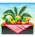 Different types of vegetables and fruit vector image vector image