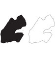 djibouti country map black silhouette and outline vector image vector image