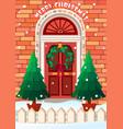 door with wreath merry vector image vector image