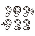 ear icons hearing problem icons set vector image