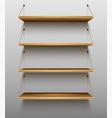 empty wooden bookshelves on wall shelves for books vector image vector image