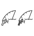 fishing rod line and glyph icon spinning vector image