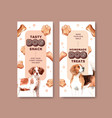 flyer template with dogs design vector image vector image